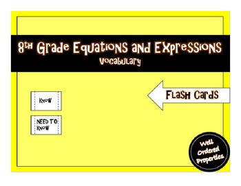 8th Grade Equations and Expressions Vocabulary Flash Cards
