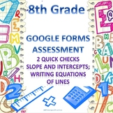 8th Grade Equations of Lines 2 Quick Checks Google Forms Assessments