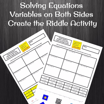 8th Grade Equations with Variables on Both Sides Create the Riddle Activity