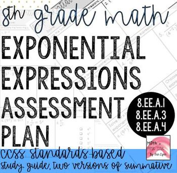 8th Grade Exponential Expressions Assessment for 8.EE. standards Bundle Go Math