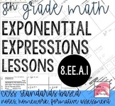8th Grade Exponents Lessons for 8.EE.A.1 Bundle Go Math