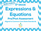 8th Grade Expressions & Equations (8.EE.1 - 8.EE.4) Common Core Test Assessment