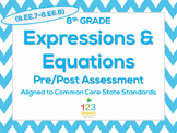 8th Grade Expressions & Equations (8.EE.7 - 8.EE.8) Common Core Test Assessment