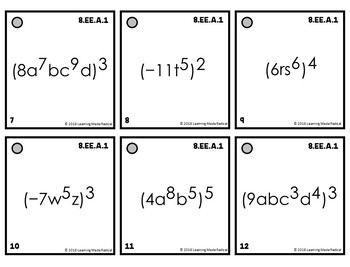8th Grade Expressions & Equations (8.EE.A.1) Time Filler Cards