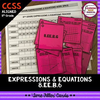 8th Grade Expressions & Equations (8.EE.B.6) Time Filler Cards