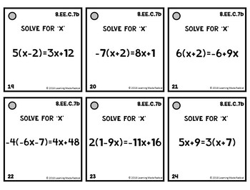 8th Grade Expressions & Equations (8.EE.C.7) Time Filler Cards