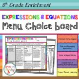 8th Grade Expressions & Equations Choice Board - Enrichment Math Menu
