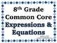 Expressions & Equations Word Wall with Example - 8th Grade