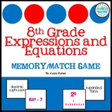 8th Grade Math Expressions and Equations Memory/Match Game
