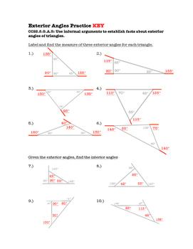 8th Grade Exterior Angles Lesson: FOLDABLE & Homework