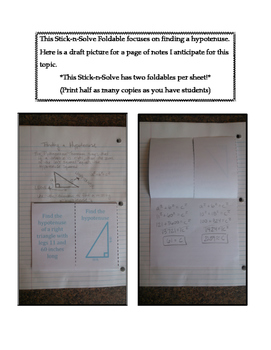 8th Grade Finding a Hypotenuse Lesson: FOLDABLE & Homework