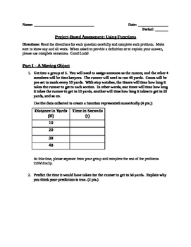 8th Grade Functions: Project Based Assessment