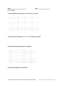 8th Grade Functions Quiz Pack
