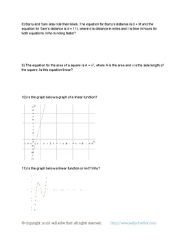 8th Grade Functions Unit Test