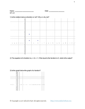 8th Grade Functions Worksheet Sample Pack
