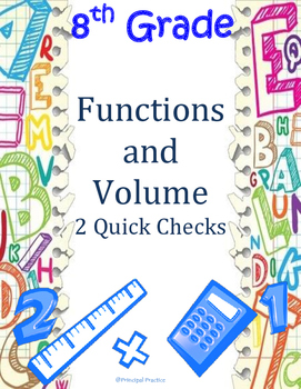 8th Grade Functions and Volume Quick Checks