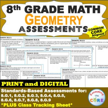 8th Grade GEOMETRY Assessments (8.G) Common Core