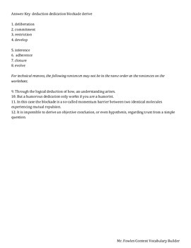 Mr. Fowles General Content Vocabulary Builder 1