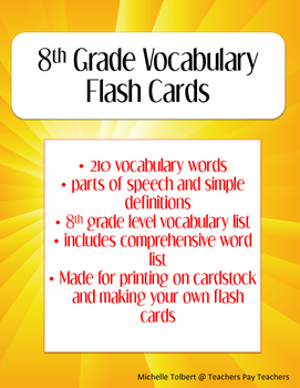 8th Grade General Vocabulary Flash Cards