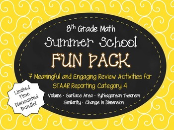8th Grade Geometry Summer School Fun Pack (STAAR Reporting Category 4)