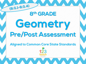 8th Grade Geometry Transformations (8.G.1 - 8.G.4) Common Core Assessment