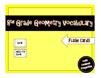 8th Grade Geometry Vocabulary Assignment