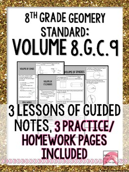 8th Grade Geometry Volume Standards Based Lessons 8gc9 By Math