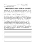 8th Grade Georgia History Regions Writing Prompt