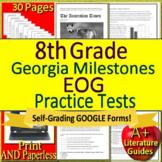 8th Grade Georgia Milestones Test Prep ELA - GMAS Printable+ SELF-GRADING GOOGLE