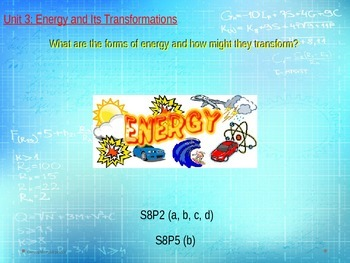 8th Grade Georgia Performance Standards Science Unit 3 Energy