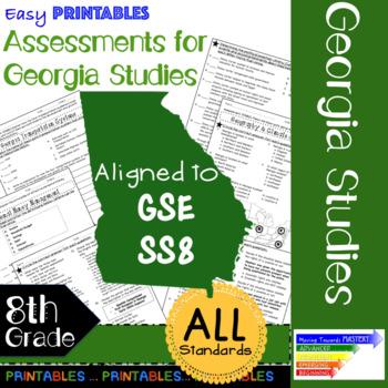 8th Grade Georgia Studies GSE Year-Long Printable Assessments