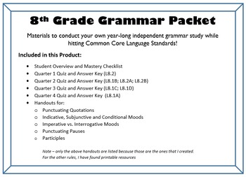 8th Grade Grammar - COMPLETE UNIT for an entire year of independent study!