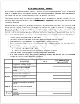 8th Grade Grammar - UNIT for an entire year of independent study!