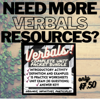 Grammar Verbals Worksheets: PARTICIPLES by Your Best Drafts | TpT