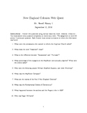 8th Grade History New England Colonies Web Quest