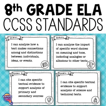 """8th Grade """"I Can"""" Posters CCSS ELA Common Core Standards"""