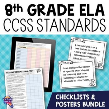 "8th Grade ""I Can"" Posters & Checklists CCSS ELA Standards Bundle"