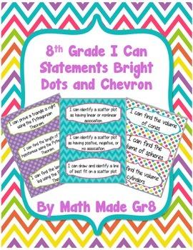 8th Grade I Can Statements (Bright dots and chevron)
