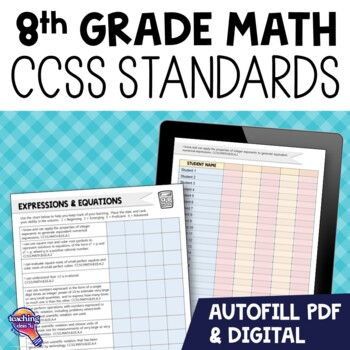 """8th Grade """"I Can"""" Student Checklists for CCSS MATH Common Core Standards"""