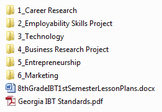 8th Grade Intro to Business and Technology Semester 1/2 Year Plan & Projects