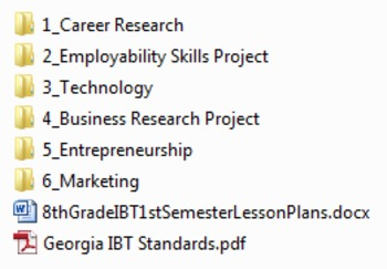 8th Grade Intro to Business and Technology Semester 1/2 Ye
