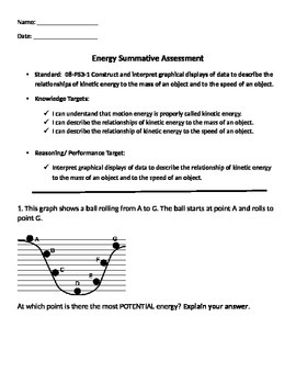 8th Grade Kinetic Energy Assessment - NGSS 08-PS3-1