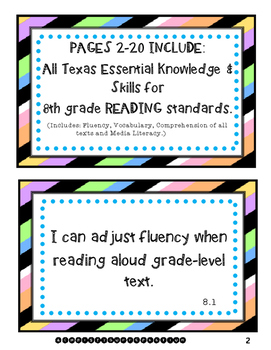 8th Grade Language Arts I Can Statements (Texas Standards, TEKS)