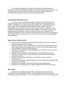 8th Grade Language Arts Kentucky Teacher Syllabus