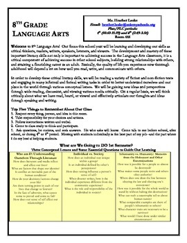 Concept-Based 8th Grade Language Arts Syllabus (supports CCSS and SBG)