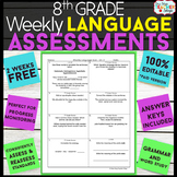 8th Grade Language Assessments | Grammar Quizzes | 2 Weeks FREE