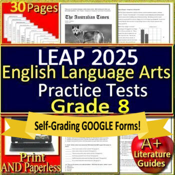 8th Grade Leap 2025 Test Prep Practice - Print and Paperless!