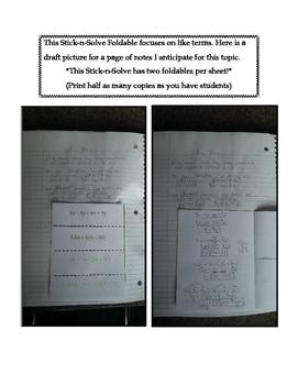 8th Grade Like Terms Lesson: FOLDABLE & Homework