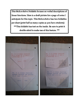 8th Grade Linear Descriptions Lesson: FOLDABLE & Homework