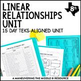 8th Grade Linear Relationships Unit: TEKS 8.4A, 8.4B, 8.4C, 8.5A, 8.5B, 8.5E